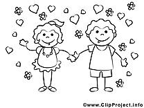 Amoureux clip art – Gens image à colorier
