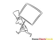 Bannière clipart gratuit – Gens à colorier
