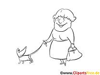 Chien vieille femme dessins gratuits – Gens à colorier