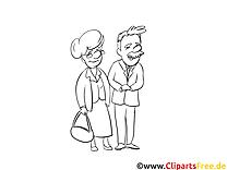 Coloriage grand-parents gens illustration à télécharger