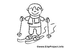 Coloriage ski gens illustration à télécharger