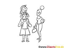 Famille clip art – Gens image à colorier