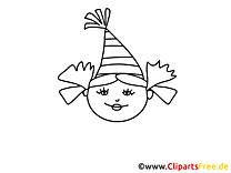 Fête fille image – Coloriage gens illustration