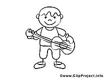 Guitare clipart – Gens dessins à colorier