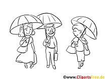 Parapluies dessin – Coloriage gens à télécharger