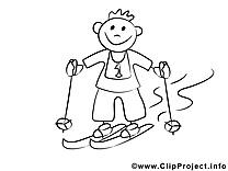 Ski clipart gratuit – Gens à colorier