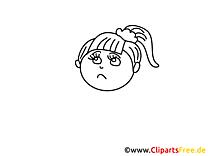 Triste fille clip art gratuit – Gens à colorier