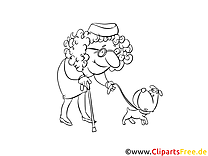 Vieille femme chien illustration – Gens à imprimer