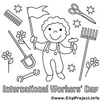 Jour des travailleurs dessins – Premier mai à colorier
