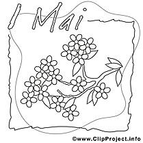 Lilas clipart gratuit – Premier mai à colorier