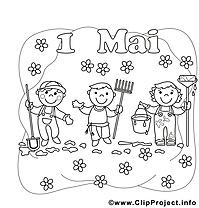 Travail dessin à télécharger – Premier mai à colorier
