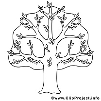 Arbre illustration – Coloriage printemps cliparts