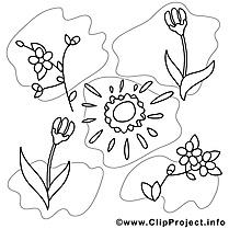 Coloriage soleil printemps image à télécharger