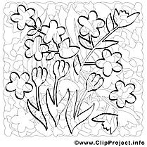 Fleurs clip art – Printemps image à colorier