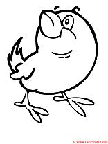 Oiseau clipart gratuit – Printemps à colorier