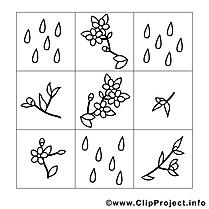 Pluie clip art gratuit – Printemps à imprimer