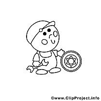 Auto mécanicien illustration – Métiers à colorier