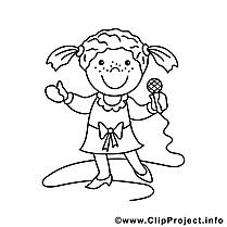 Chanteuse dessins gratuits – Métiers à colorier