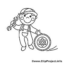 Coloriage mécanicien métiers illustration à télécharger