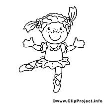 Danseuse dessin à télécharger – Métiers à colorier