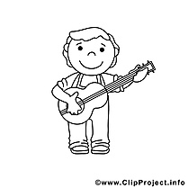 Guitariste illustration – Coloriage métiers cliparts