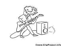 Image gratuite musicien – Métiers à colorier