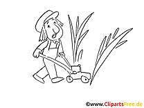 Jardinier clip art – Métiers image à colorier