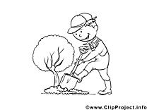 Jardinier clip art gratuit – Métiers à colorier