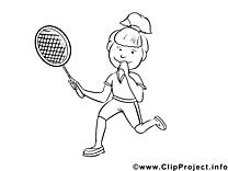 Joueur de tennis illustration – Coloriage métiers cliparts