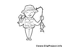 Pêcheur image – Coloriage métiers illustration