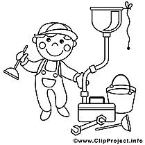 Plombier illustration – Métiers à imprimer
