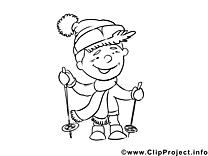 Skieur clipart gratuit – Métiers à colorier