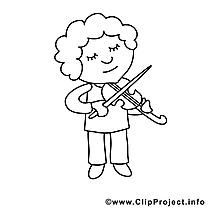 Violoniste image à télécharger – Métiers à colorier