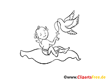 Colombe dessins gratuits – Baptême à colorier
