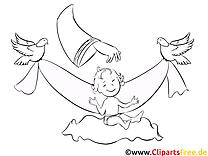 Colombes image à télécharger – Baptême à colorier