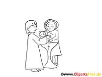 Coloriage prêtre baptême image à télécharger gratuite