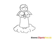 Illustration ange – Coloriage baptême illustration