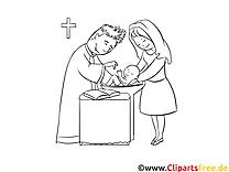 Prêtre clip art – Baptême image à colorier
