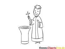 Prêtre image gratuite – Baptême à colorier