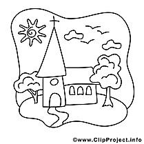 Église image à télécharger – Communion à colorier