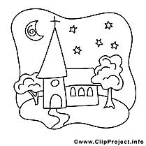 Église clipart gratuit – Confirmation à colorier