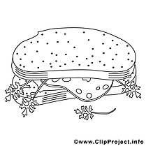 Sandwich illustration – Cuisine à colorier