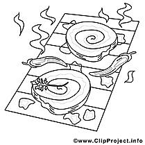 Viande grillée illustration – Coloriage cuisine cliparts