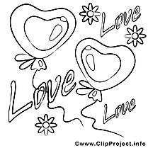 Amour clip art gratuit – Saint-valentin à colorier