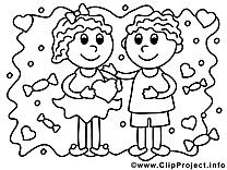 Amoureux dessin – Coloriage saint-valentin à télécharger