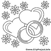Anneaux clipart gratuit – Saint-valentin à colorier