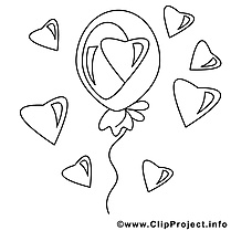 Ballon clip art – Saint-valentin image à colorier