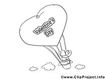 Ballon image gratuite – Saint-valentin à colorier