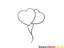 Ballons dessin à télécharger – Saint-valentin à colorier