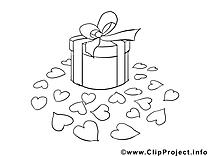 Cadeau clipart gratuit – Saint-valentin à colorier